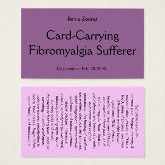 card carrying fibromyalgia sufferer card. Black Bedroom Furniture Sets. Home Design Ideas