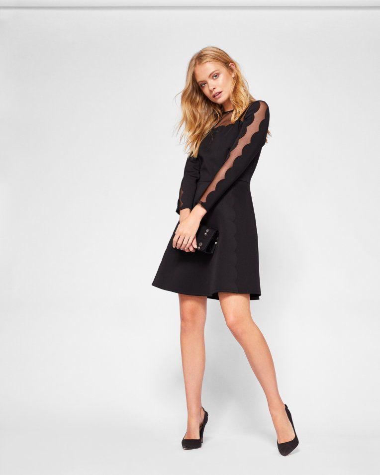 Mesh Panelled Skater Dress Black Dresses Ted Baker Dress A
