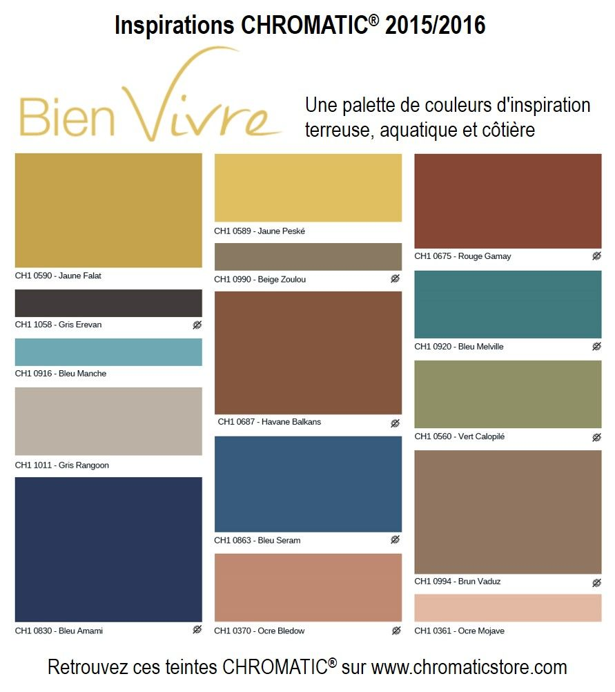 tendances chromatic 2015 bien vivre une palette de couleurs d 39 inspiration terreuse pinterest. Black Bedroom Furniture Sets. Home Design Ideas