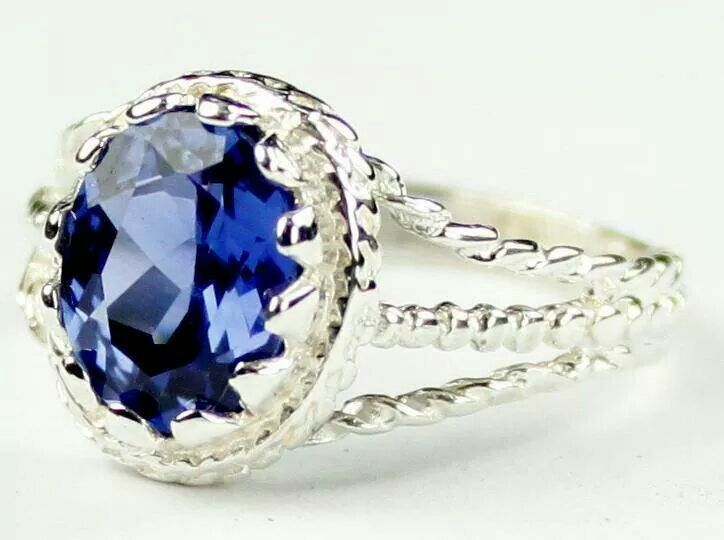 Created sapphire & sterling silver. Beautiful!