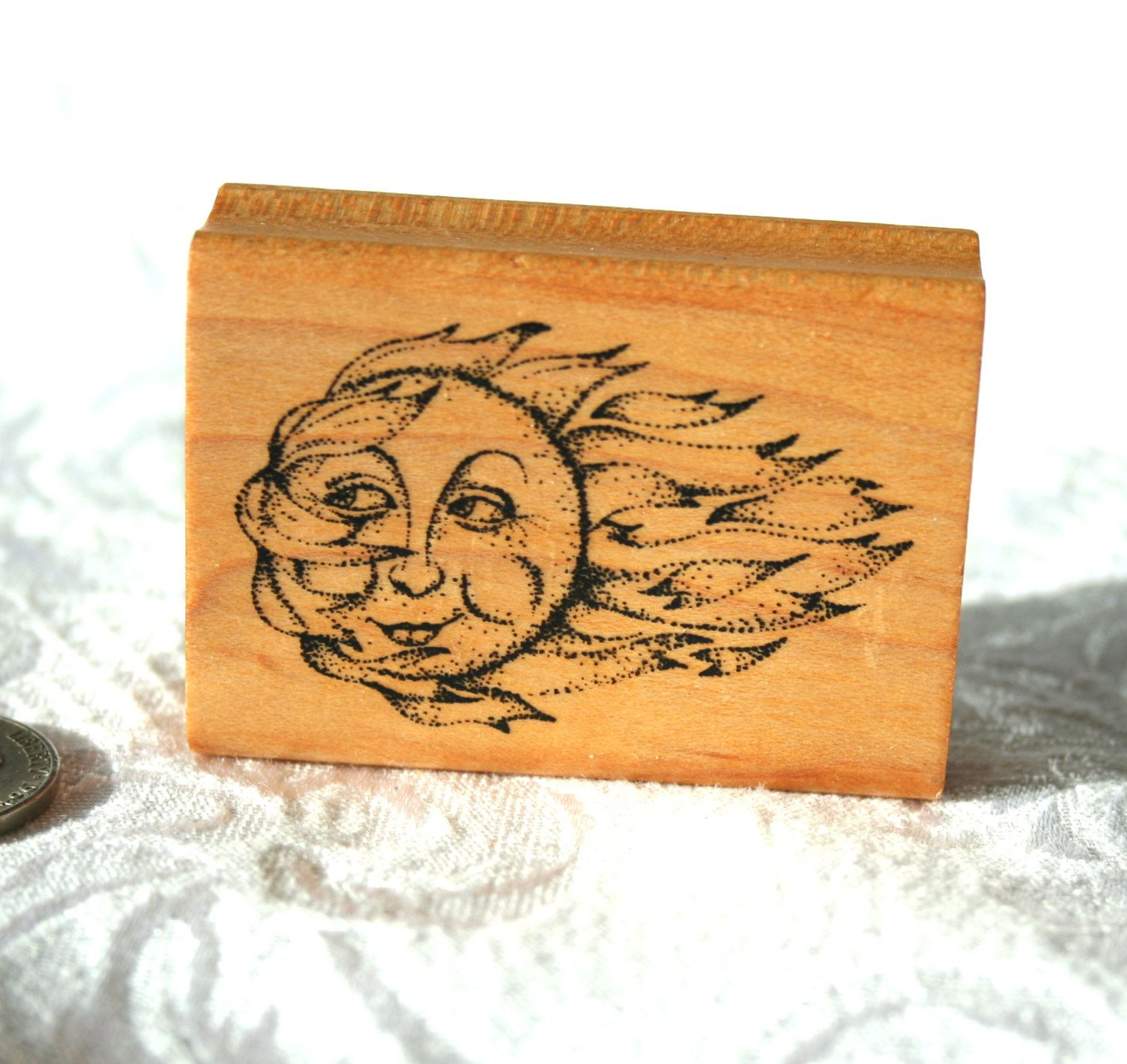 Rubber stamp craft supplies - Sun Face By Comotion Rubber Stamp Cosmic Stamp Sun Stamp Windy Sun