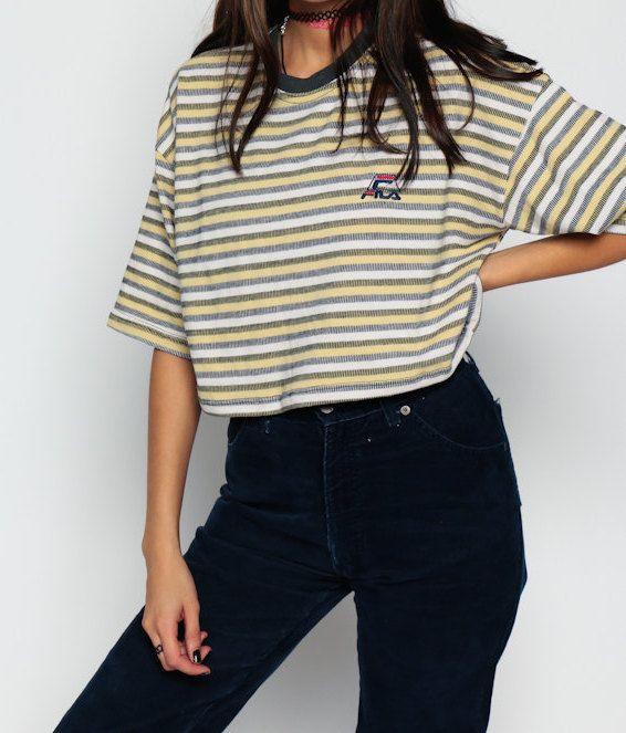 Fila Shirt 80s Athletic Tshirt Striped Ringer Cropped Top