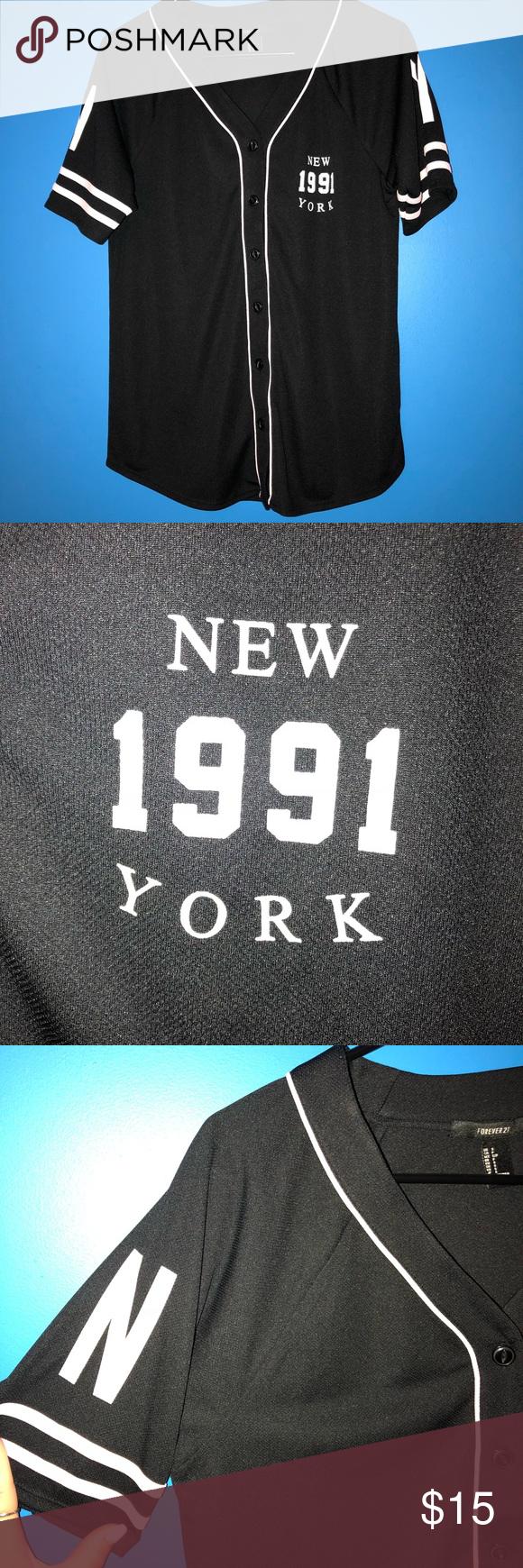 Download NY Mock Baseball Jersey *never worn NWOT* Black NY Mock ...