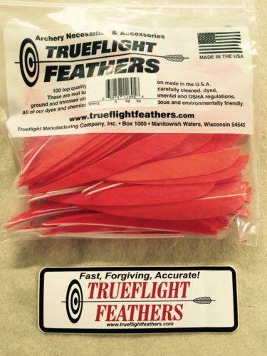 Fletches 181310: Trueflight 5 Inch Feathers Right Wing Parabolic Cut 100 Pack Orange BUY IT NOW ONLY: $49.0