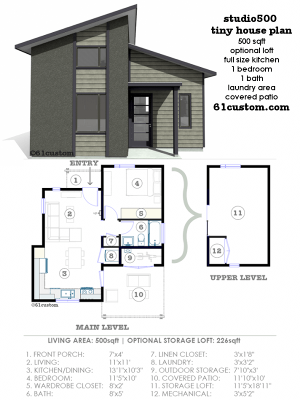 Superior Studio500: Modern Tiny House Plan | 61custom
