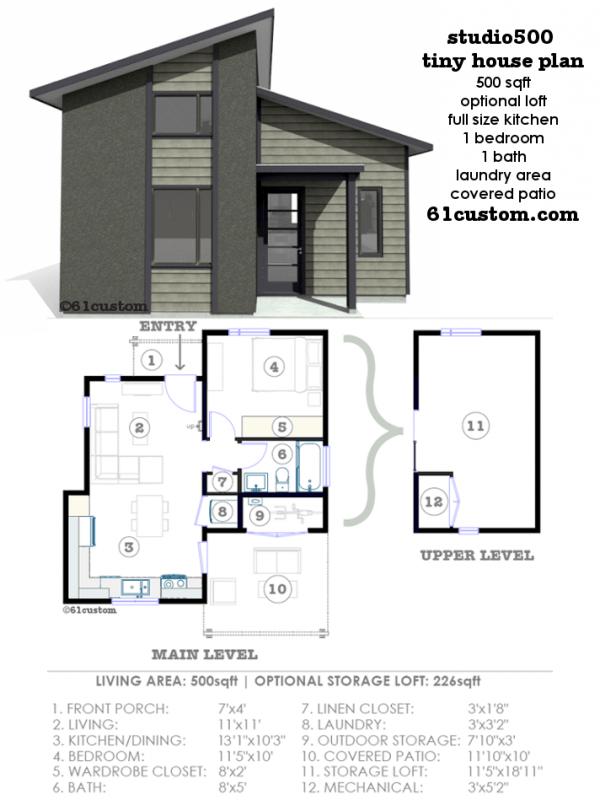 Studio500 Modern Tiny House Plan 61custom Modern Tiny House Modern House Plans Tiny House Plan