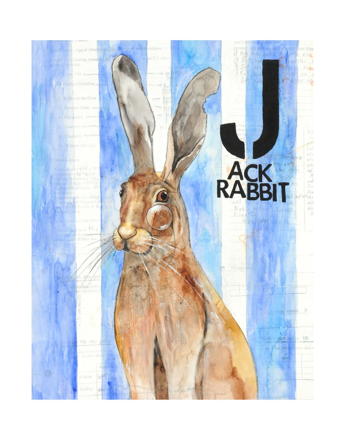 Jjack Rabbit Print Of My Mixed Media Animal By