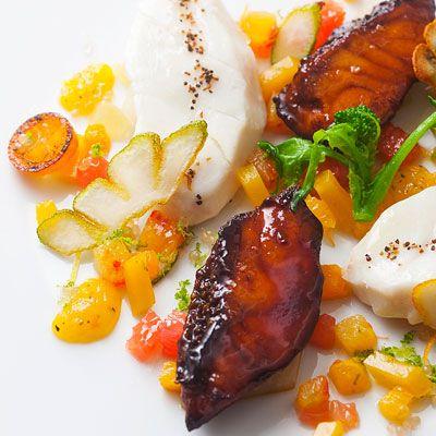 Sea Bream, Citrus Fruit/Peppers, Caramelized Ventrèche by Alain Ducasse