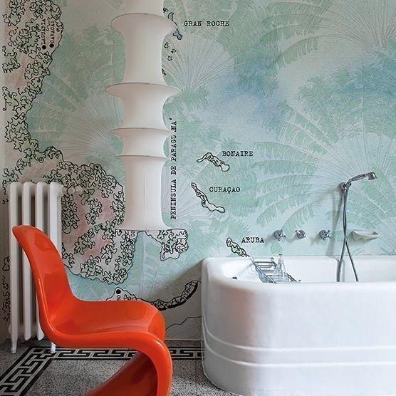 Papier peint tanche waterproof wallpaper wall deco - Peinture salle de bain etanche ...