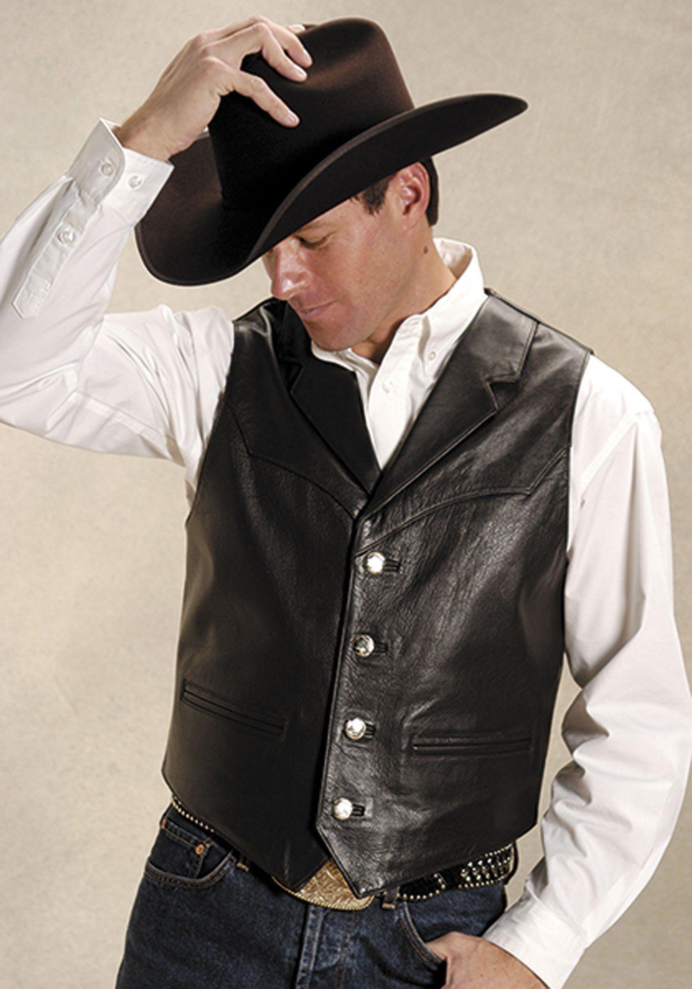 Roper Mens Brown Cow Nappa Leather Buffalo Nickel Button Western Vest Mens Leather Vest Leather Vest Western Vest [ 2000 x 1400 Pixel ]