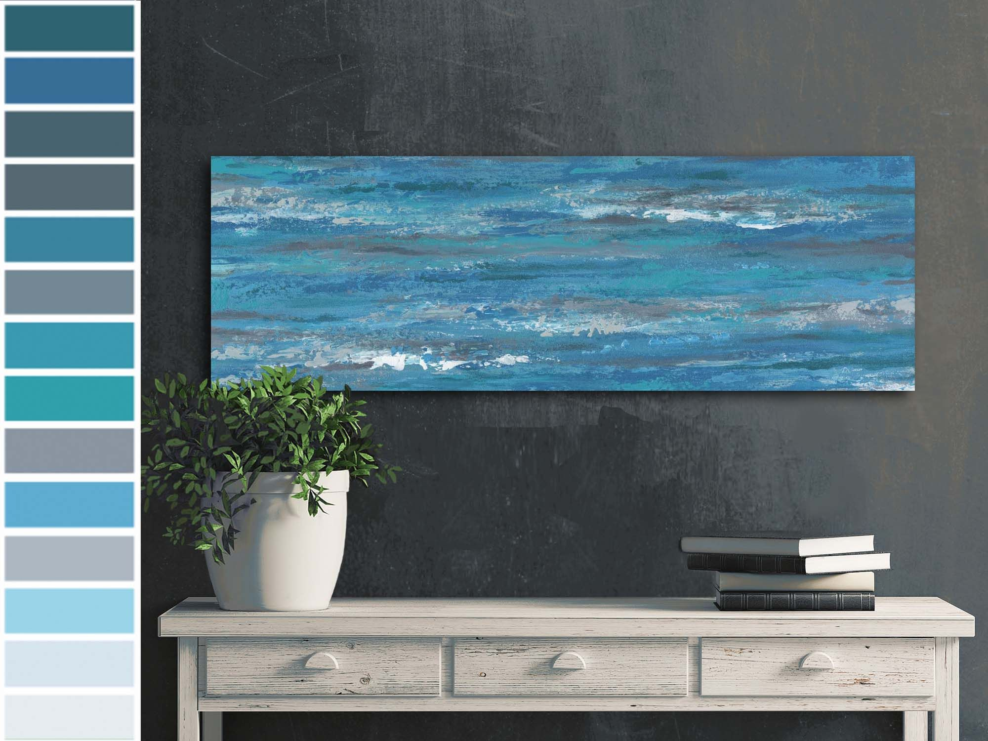 Blue Gray Abstract Painting Panoramic Prints Canvas Wall Etsy