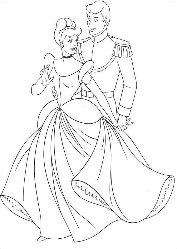 Fargelegge prinsesser Askepott Disney figurer Skriv ut