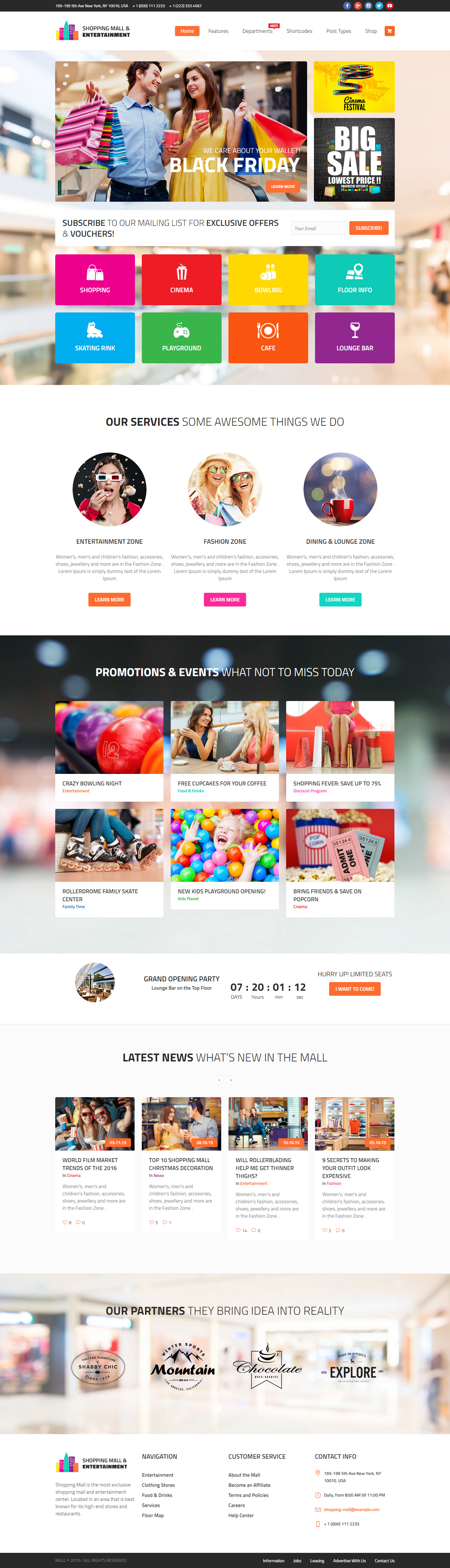 Shopping Mall Entertainment Center And Business Wordpress Theme Business Wordpress Themes Wordpress Theme Responsive Shopping Mall