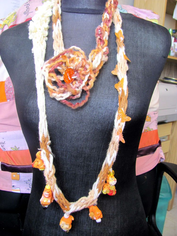 A HANDMADE NECKLACE FIBER ART AND BEADS ONE OF A KIND DIRECTLY FROM THE ARTIST #HANDMADEBYRIVKAFILIN #Statement