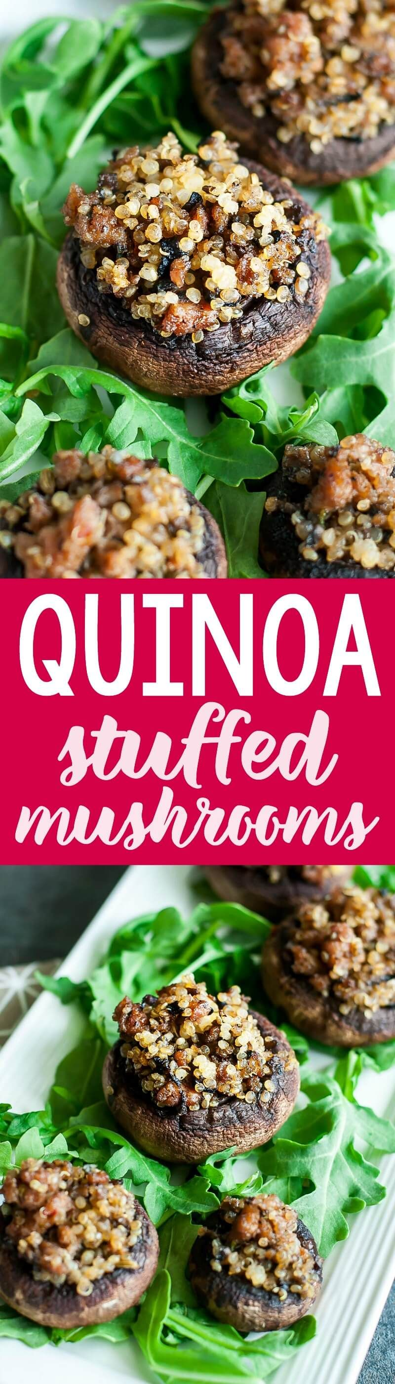 Italian sausage stuffed mushrooms with garlic and quinoa