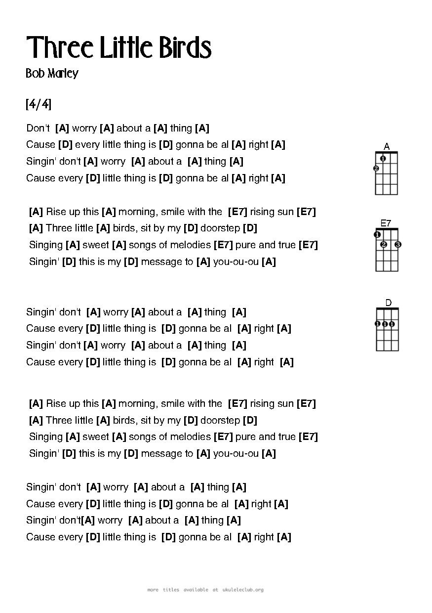 Nice Three Little Birds Chords Ukulele Pattern - Guitar Ukulele ...