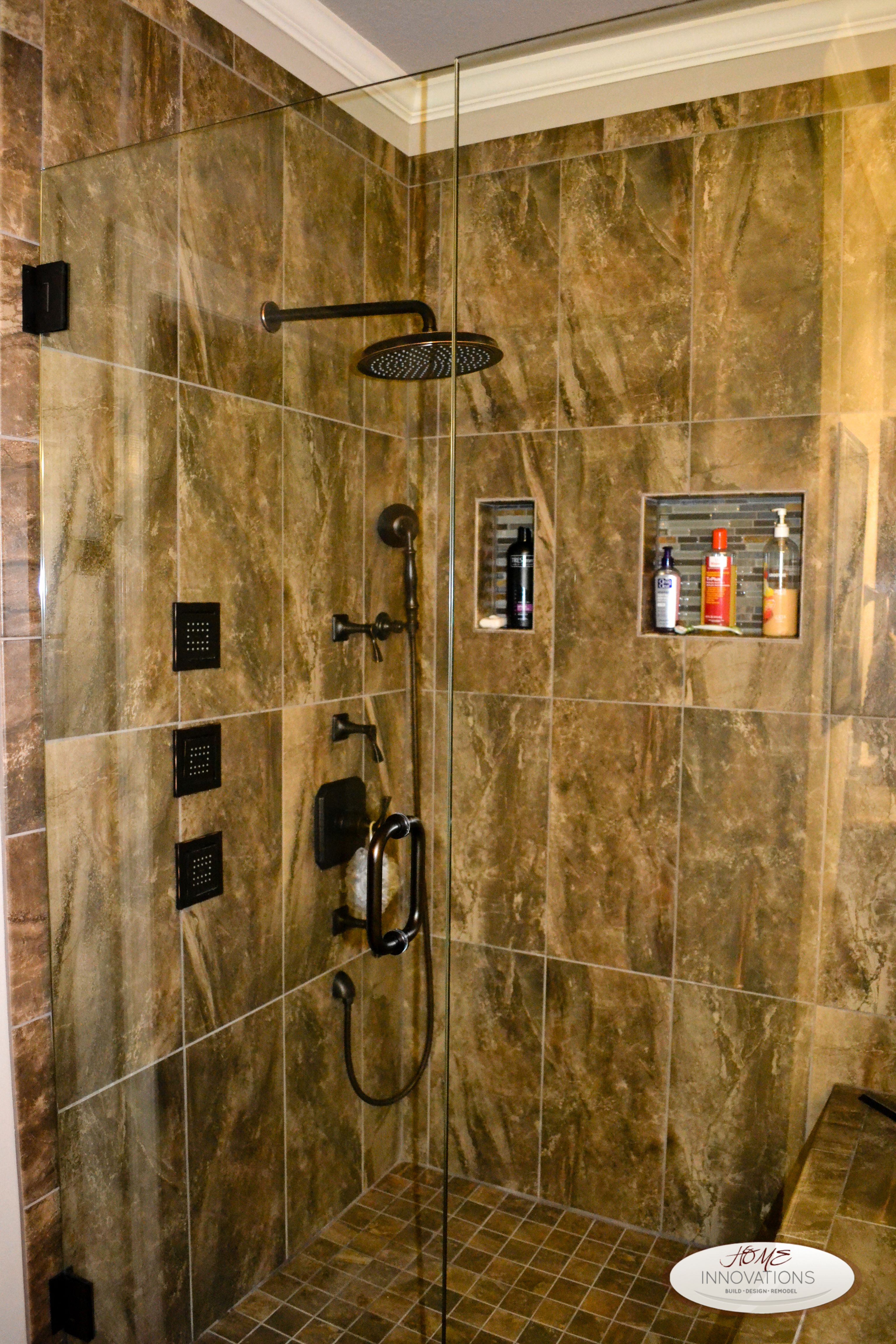 Master bathroom remodel with full tile shower with shower