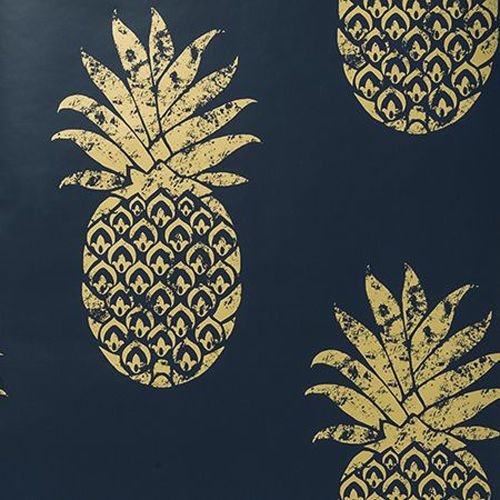tobago ananas motif tropical papier peint design indigo bleu dor metalique motif tropical. Black Bedroom Furniture Sets. Home Design Ideas