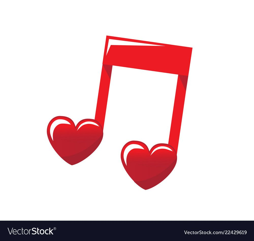 Red Note Symbolizing Love Music With Hearts On A White Background Download A Free Preview Or High Quality Adobe Illustrato Music Notes Art Music Symbols Music