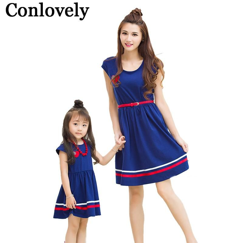 18168d15228 MomAndKido Matching Mother And Daughter Polyester Casual Striped Dresses  Outfit