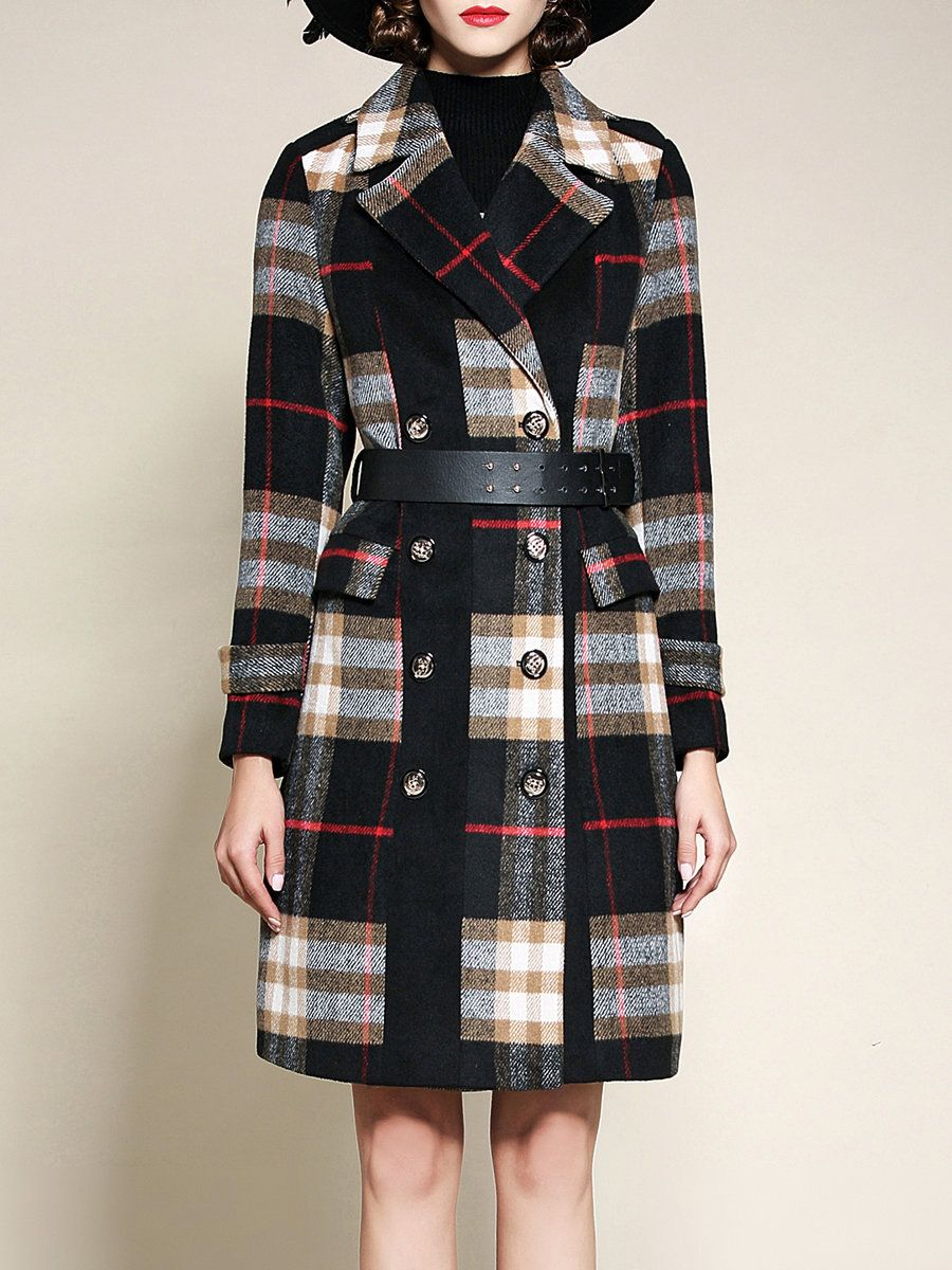 #AdoreWe #OOTD Riwins Coffee Checkered/Plaid Lapel Simple Coat - AdoreWe.com