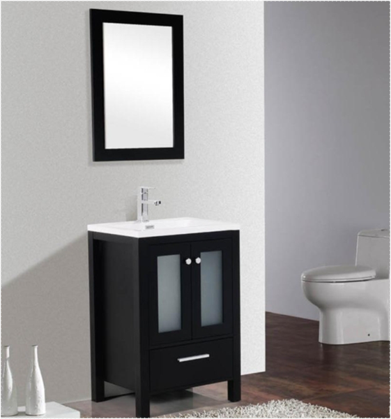 Brezza 30 Black Frosted Gl Bathroom Vanity The Canada 1