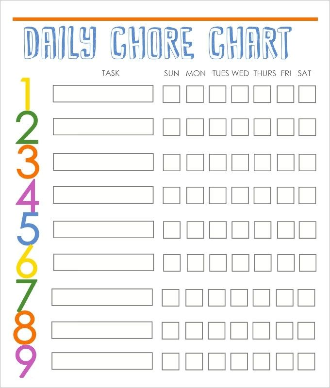 High Quality Chore Calendar Printable Daily Family Routine Chart