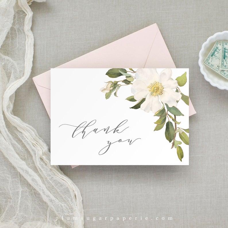 Wedding Thank You Card Printable Folded Wedding Thank You Etsy Wedding Thank You Cards Wedding Thank You Thank You Card Template