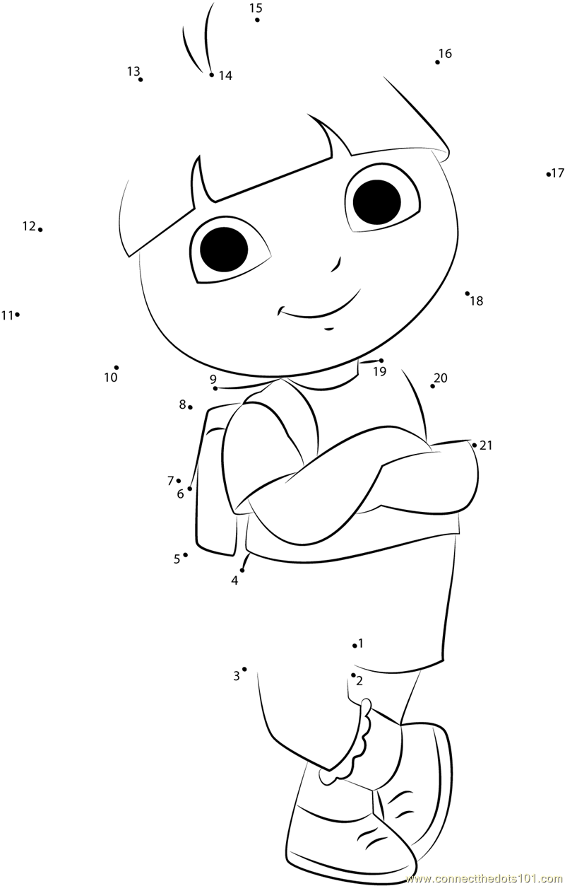 Dora Smiling Dot To Dot Printable Worksheet Connect The Dots Preschool Patterns Childrens Worksheets Puppy Coloring Pages [ 1253 x 800 Pixel ]