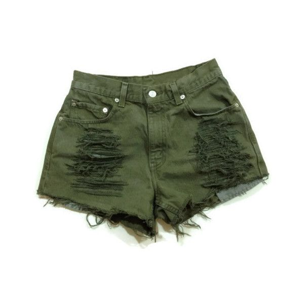 Olive Khaki Green High waisted studded shorts ($69) ❤ liked on Polyvore  featuring shorts