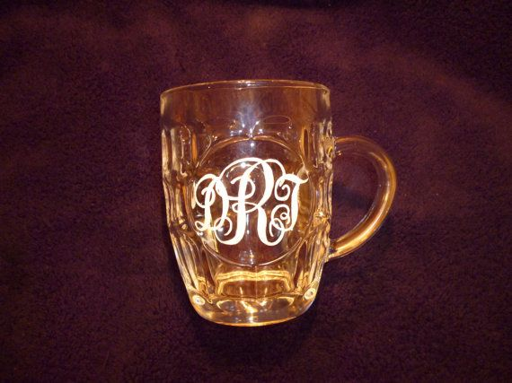 Personalised glass beer tankard monogram hand engraved by CoveCalligraphy, £19.50