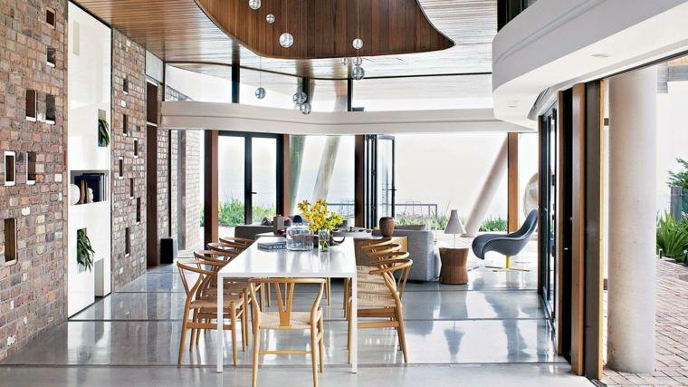 proposta per arredare soggiorni moderni con una zona per il pranzo ...