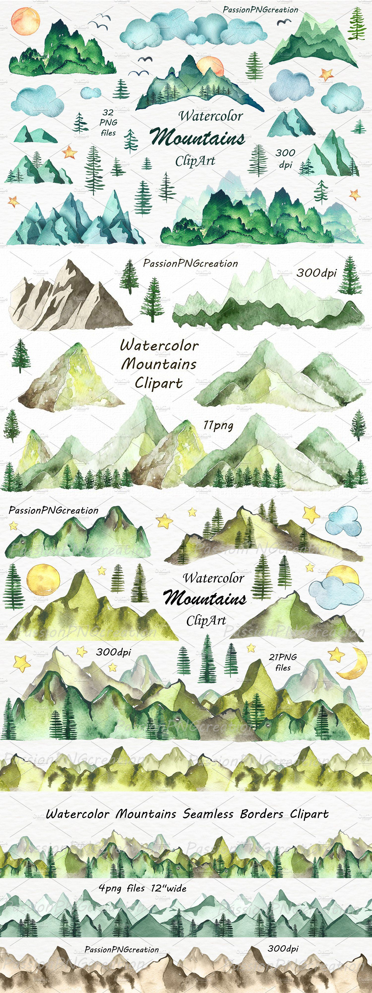 Big Set of Watercolor Mountains