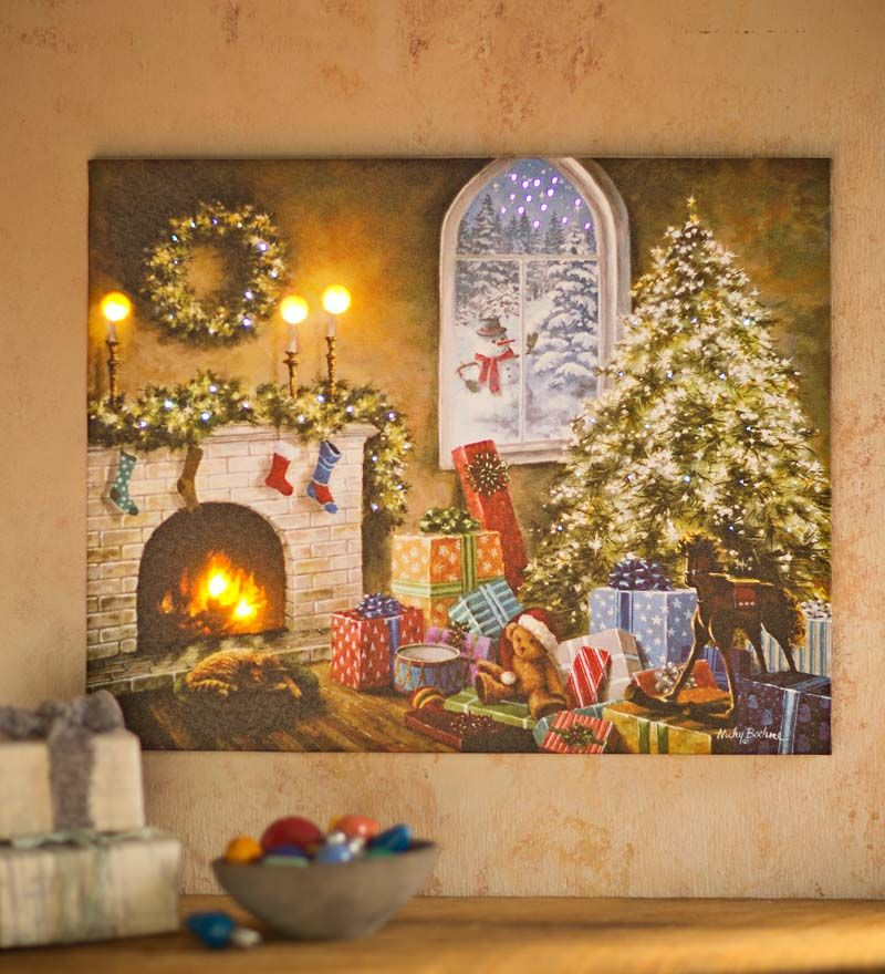 Led Lighted Holiday Canvas Wall Art In Framed Wall Art Holiday Canvas Christmas Wall Art Framed Wall Art