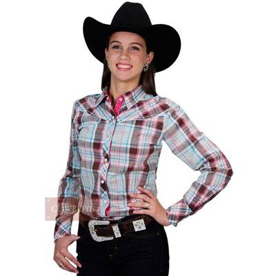 91cb4a3223 Camisa Feminina Country Xadrez Cowgirl Up