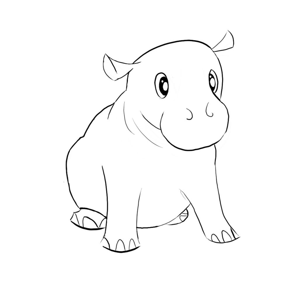 Line Art Hippo : Hippo sketch diy pinterest sketching and so cute