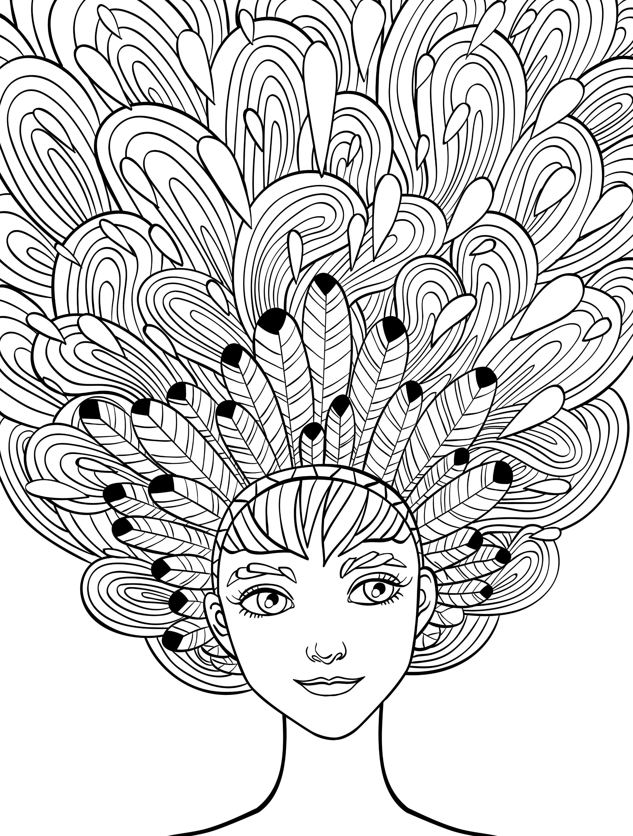 Printable Hair Coloring Pages. 10 Crazy Hair Adult Coloring Pages Davlin Publishing  adultcoloring