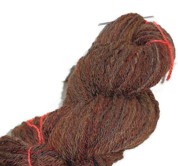 Luxury Handspun Hand Dyed 3 Ply Shetland Wool Brown Hand
