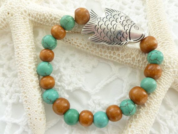 Turquoise Wood Bead Fish Bracelet by CaseyRoseCollection on Etsy, $16.00