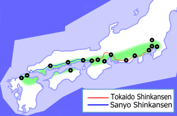 A Map Of The Taiheiyō Belt In Japan Showing The Tōkaidō And Sanyō Shinkansen Routes Map Historical Maps Japan