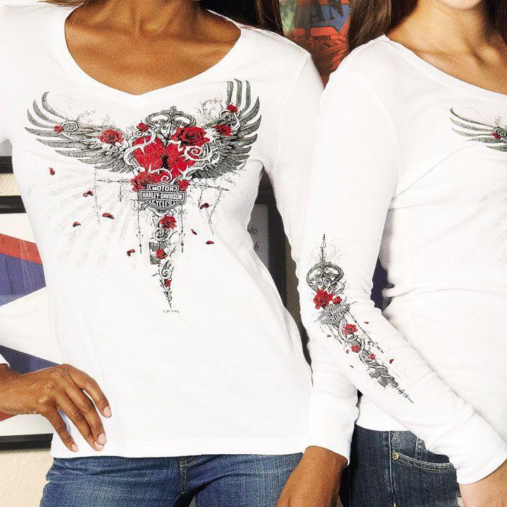 Harley Davidson Women S Heart Broken White Long Sleeve V