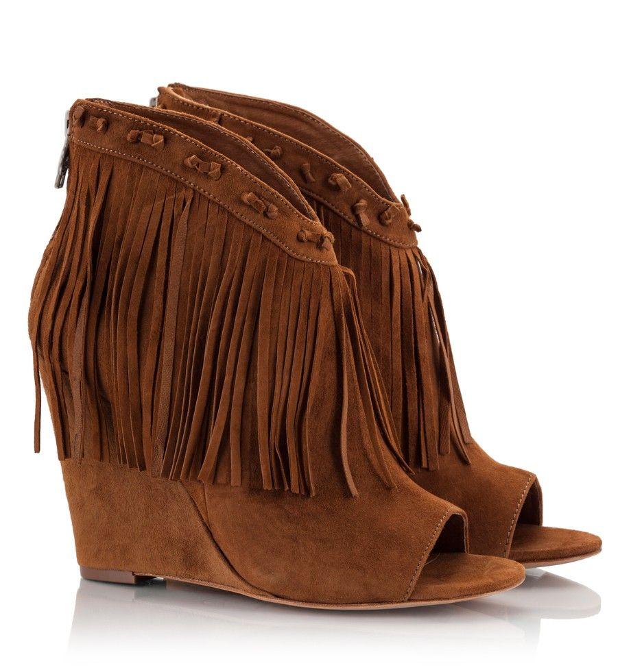 Ash JANIS Fringe suede wedge peep-toe booties #ashshoes ...