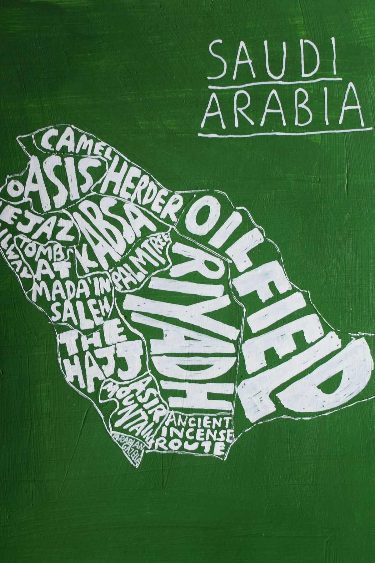 Saudi Arabia Map Inspired By The Colours Of National Flag