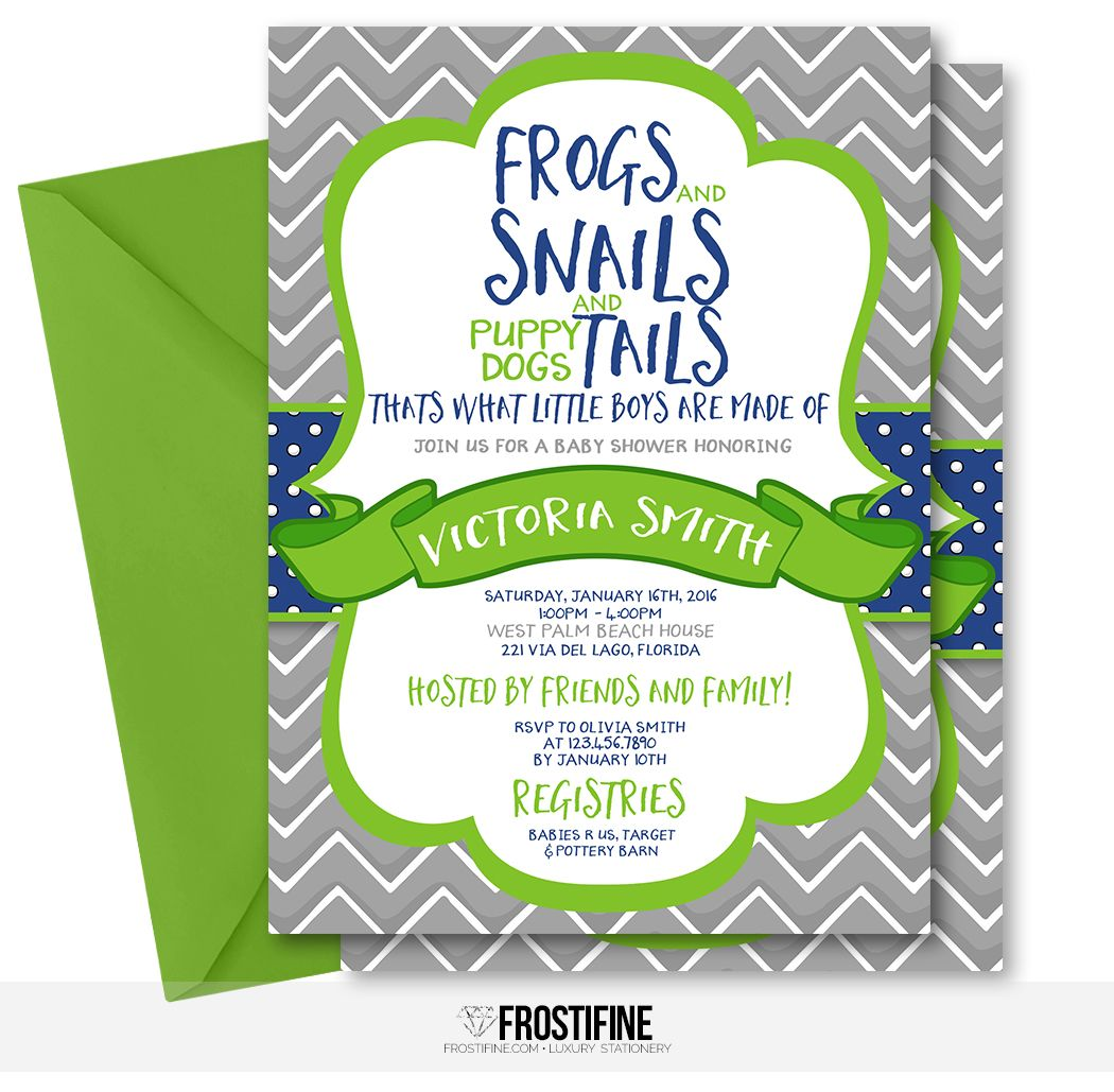 Frogs, snails and puppy dogs tails baby shower invitation for your ...