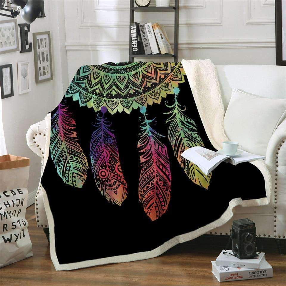 Bohemian Colorful Dreamcatcher Throw Blanket Your Own