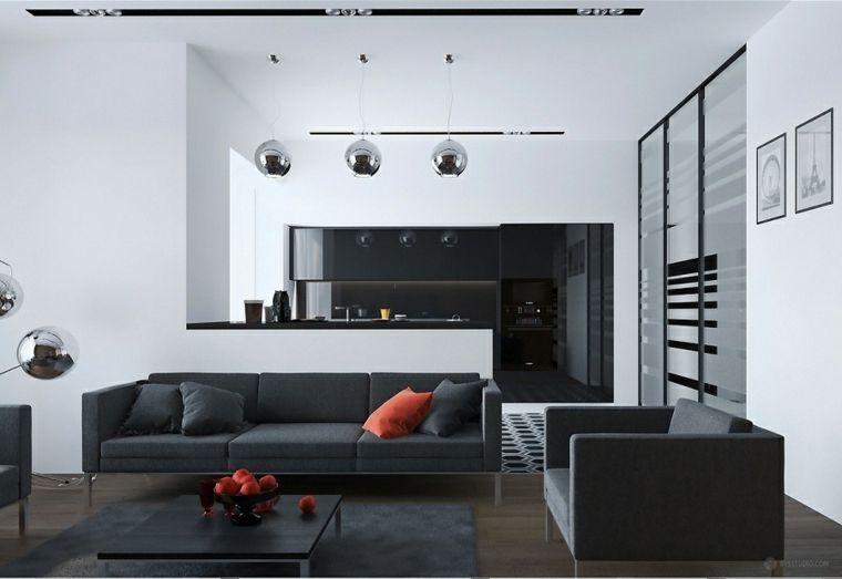 Quadri moderni per arredamento soggiorno con divano e cucina di ...