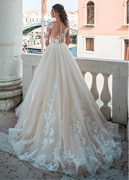 [221.60] Junoesque Tulle Scoop Neckline A-line Wedding Dresses With Lace Appliques & Beadings – magbridal.com.cn – Gelinlik