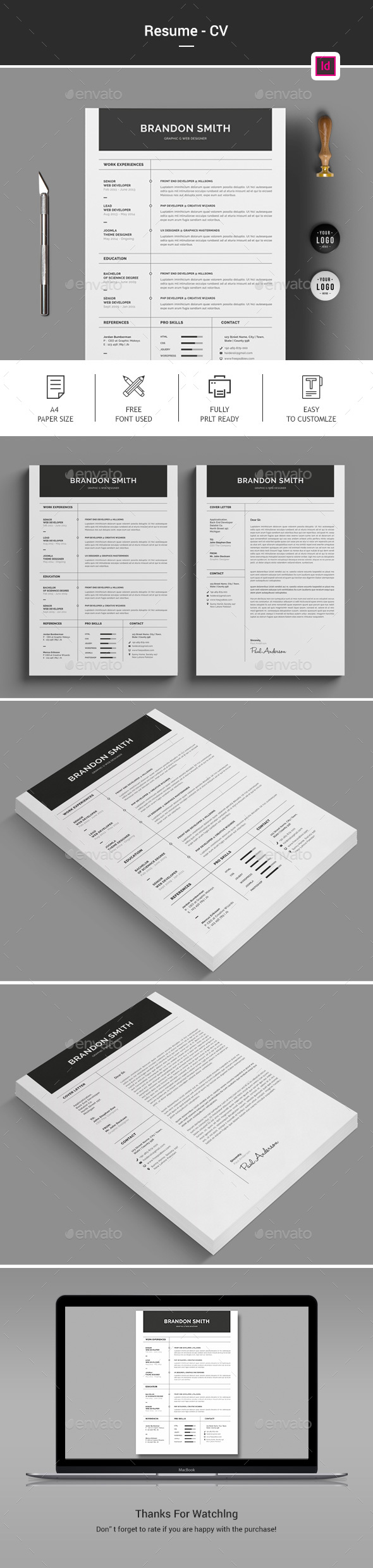 Simple Clean Minimal Resume Template  Creative Professional