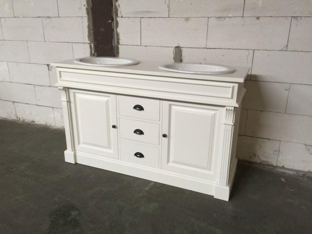 Waschtisch weiß Massivholz, Waschtisch weiß-braun im Landhausstil ...