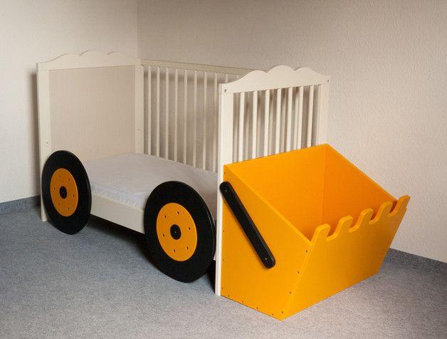 anbauset bagger  kinderbett wird zum baggerbett  kinder